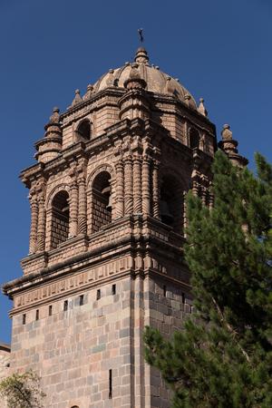Bell tower of Cusco Peru church Stock Photo
