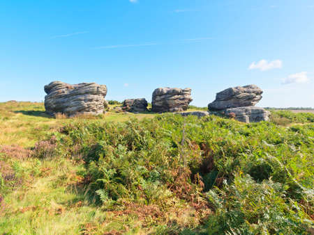 Gritstone rocks on Birchen Edge, Derbyshire. The larger ones named after three of Nelsons ships, Victory, Defiance and Royal Sovereign