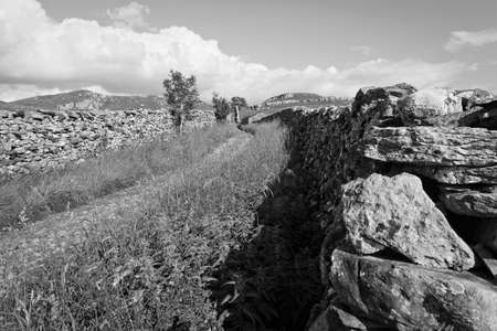 Black and white image of the  Pennine Bridleway as it climbs over the Yorkshire Dales