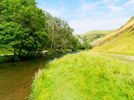 Late summer sfternoon in an almost deserted Dovedale in the Derbyshire Peak District.