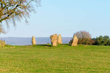 The ancient Nine Stone Circle standing stones in Derbyshire Stock Photo