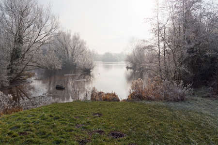 Frozen molehills on the banks of a lake surrounded by frost laden trees and bushes on a cold and misty winter morning