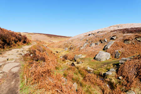 A bright late winter day following the footpath from Cutthroat Bridge to Derwent Moor in the Hope Valley, Derbyshire