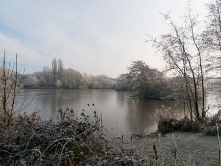 Standing on the banks of a small frozen lake bordered by frost covered trees and bushes