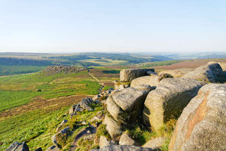 From  Higger Tor to Carl Wark hillfort on a hazy summer day in Derbyshire