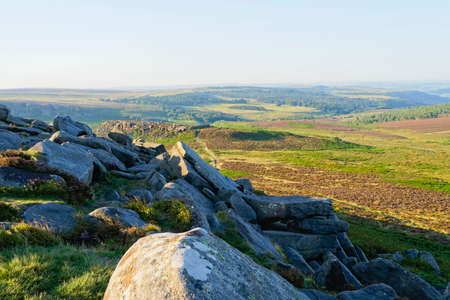From Higger Tor across Hathersage and Burbage Moors on a hazy morning