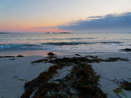 Seaweed on the beach points to the incoming waves at sunset on Plage Sainte-Marguerite, Landeda, Brittany