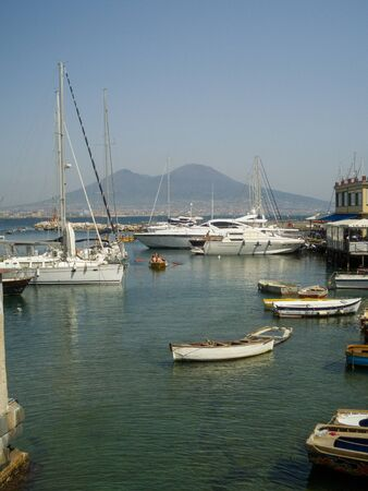 gulf of Naples, Italy, with the Vesuvius Volcano Mountain in sight.