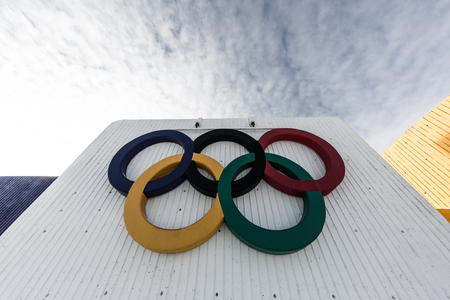 the olympic rings: Olympic Rings in Montreal Editorial