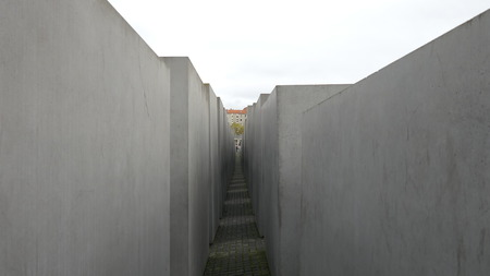 Inside of the Memorial for the Murdered Jews of Europe in Berlin