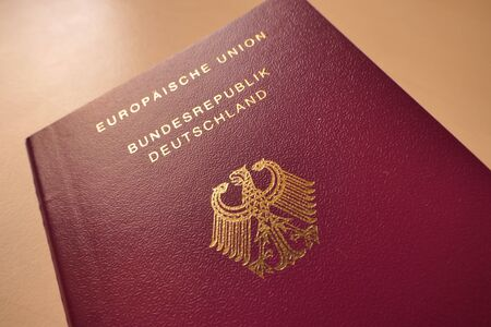 Direct view of the upper part of the German passport
