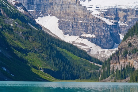 turquise: rising skyward above turquise water, mount lefroy and mount victoria form a dramatic backdrop to one of the most beautiful lakes in the world, lake louise, in banff natioanl park, canada. Stock Photo