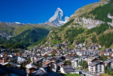 summit: looking toward the matterhorn, from the resort village of zermatt, switzerland.