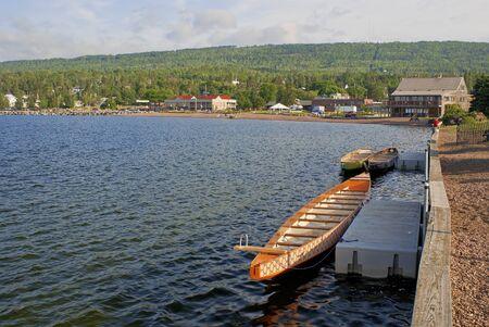 superior: boats docked on the north shore of lake superior, at grand marais, minnesota.
