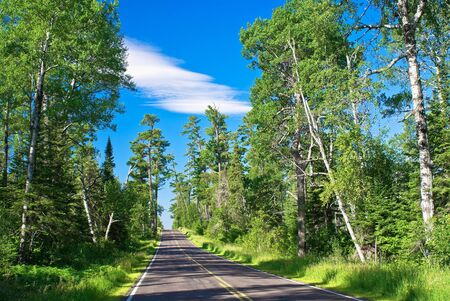 the gunflint trail is a 57 mile long scenic byway, that winds its way through the superior national forest, in northeast minnesota. Stock Photo - 10302117