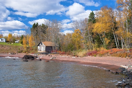 house and old cabin, on the north shore of lake superior, minnesota.