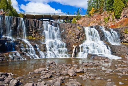 highway 61 over middle gooseberry falls, which is one of a number of falls on the gooseberry river, that eventually enters into lake superior.