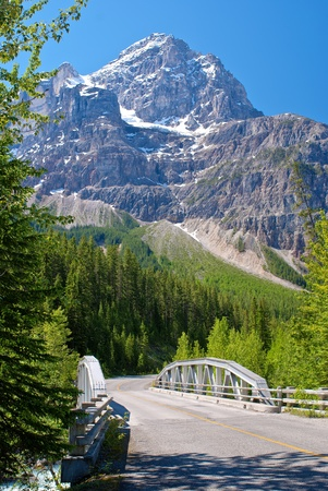 canadian rockies: mount stevens, rises over the kicking horse river bridge, yoho national park, british columbia, canada. Stock Photo