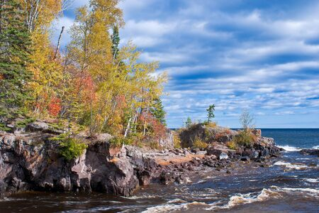 minnesota woods: autumn at the mouth of the temperance river and lake superior, minnesota.