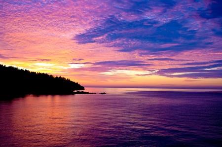 sunrise over shovel point, on the north shore of lake superior, minnesota.