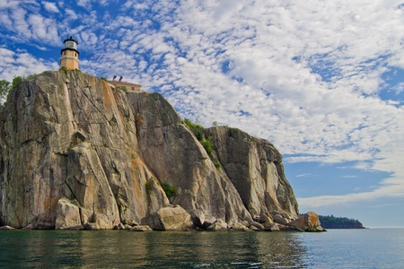 now designated a national landmark, split rock lighthouse, stands on a rocky outcrop, above  lake superior, minnesota.