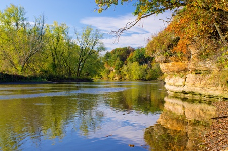 ealry autumn on the rock river, in castle rock state park, illinois.