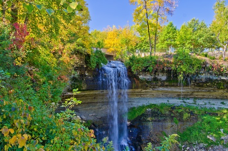 minnehaha falls, in autumn, minneapolis, minnesota.
