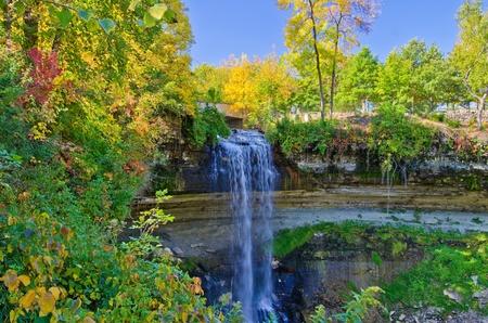 minnesota woods: minnehaha falls, in autumn, minneapolis, minnesota.