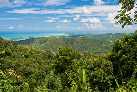 rico: a view looking out towards the north shore of puerto rico, from the el yunque national forest. Stock Photo