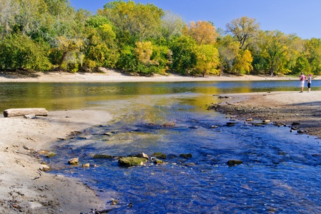 mississippi: the confluence of minnehaha creek and the mississippi river, autumn, minneapolis, minnesota.