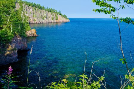 minnesota woods: looking out towards shovel point, and the cold clear waters of lake superior, tettegouche state park, minnesota.