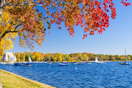 lake shore: autumn along lake harriets shoreline, minneapolis, minnesota.