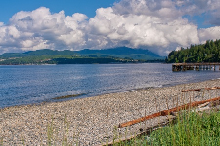 A view of Davis Bay Beach and Pier, British Columbia, Canada. Stock Photo