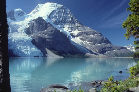 mount robson as seen from the shoreline of berg lake, mount robson provential park, canada.