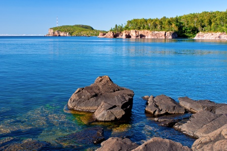 looking toward palisade head, and tettegouche state park shoreline, on lake superior, minnesota.