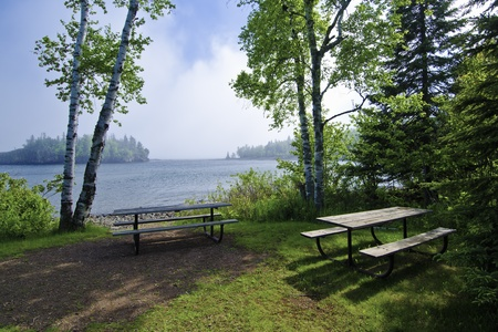 superiors: a foggy morning at split rock state parks picnic area, on lake superiors north shore, minnesota. Stock Photo