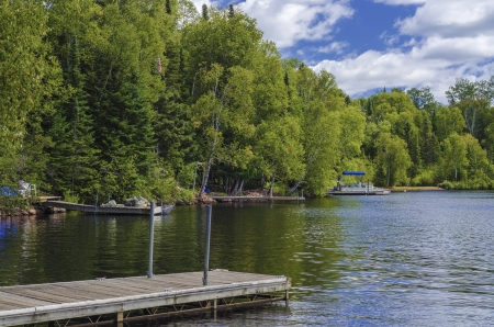 minnesota: boat access and dock, at devil track lake, in northern minnesota  Stock Photo