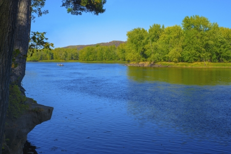 state of wisconsin: a view from an outcrop on the st.croix river, looking across to wisconsin from minnesota, at william obrien state park. Stock Photo