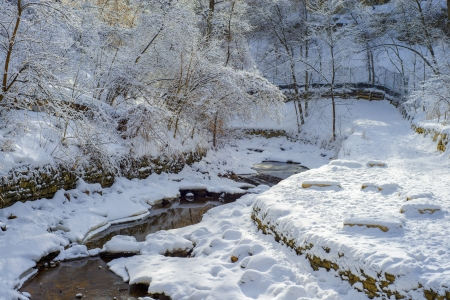 a winding and open minnehaha creek in winter, minneapolis, minnesota