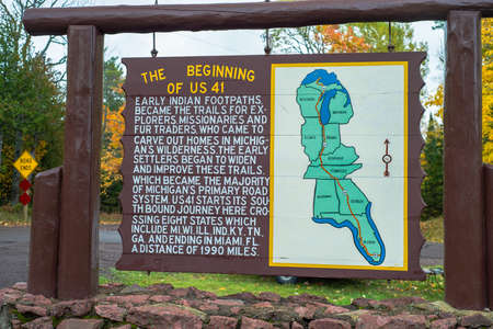 southward: just east of copper harbor michigan, a post states the beginning of u s  highway 41 on its southward journey to florida