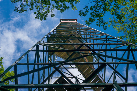 mille: looking skyward to the top of the fire tower in mille lacs kathio state park, minnesota.
