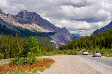 icefield: heading down from sunwapta pass, on the icefield parkway, banff national park, alberta, canada.