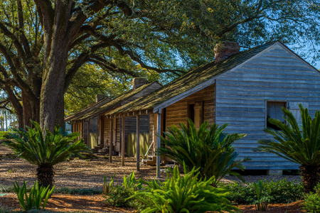 a row of slave houses, at the historic oak alley plantation, vacherie, louisiana