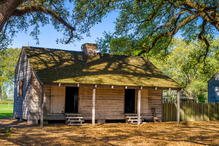 a replicated slave quarters, on the historic oak alley plantation, vacherie, louisiana. Stock Photo