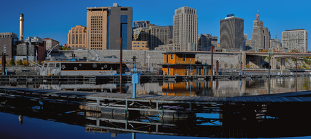 a panoramic view of the st. paul skyline, as seen fron the harriet island marina, st. paul, minnesota, autumn.
