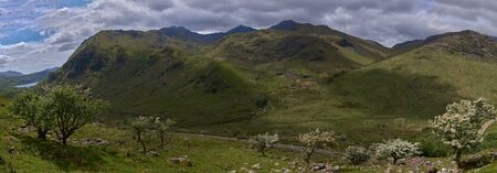 a panoramic view of the snowdonia's mountains and valleys, in snowdonia national park, wales.