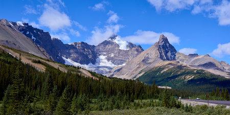 along the beautiful icefield parkway near sunwapta pass, in jasper national park, alberta, canada. Stock Photo