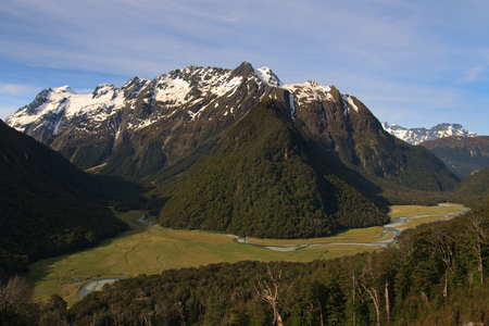 aspiring: View of the Routeburn Flats from Great Walk Track in the Mt Aspiring National Park and Fiordland, New Zealand Stock Photo