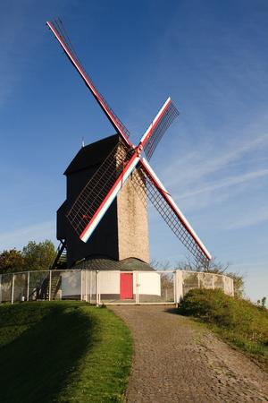 Still working wooden windmill in flanders