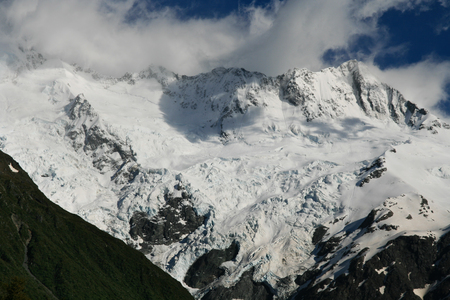 assent: Mountain peak and glacier in New Zealand mt cook range Stock Photo